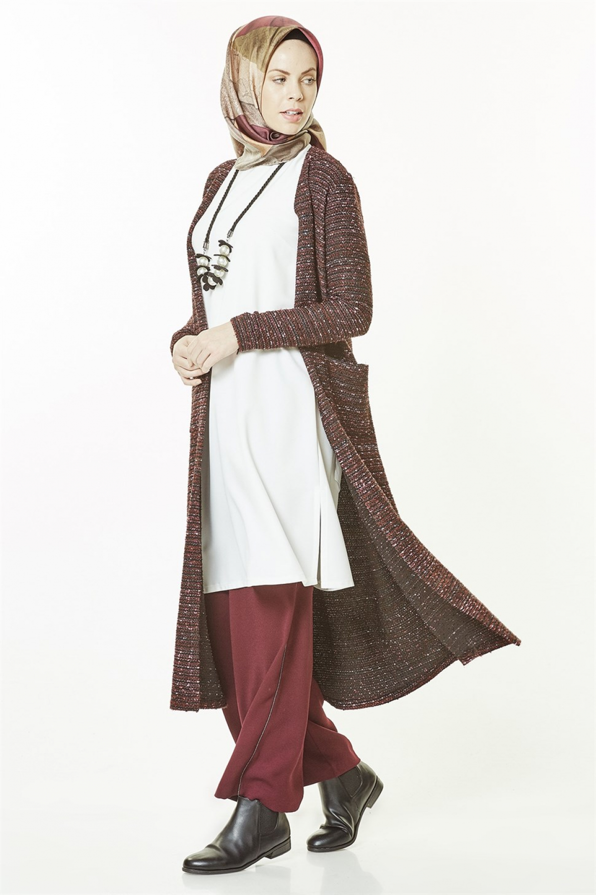 Armine - Women's Cardigan -  Claret Red