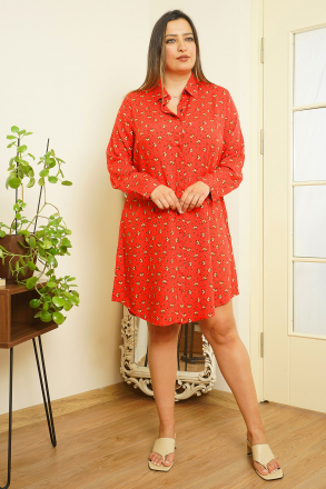 Markosin Plus Size Floral Tunic Dress