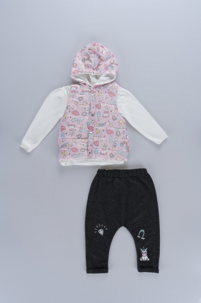 Markosin  Patterned Puff Vest, Coat Baby Girl 3-Piece Set
