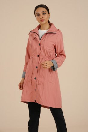 Markosin Women's Trench Coat - MAR209171 Pink
