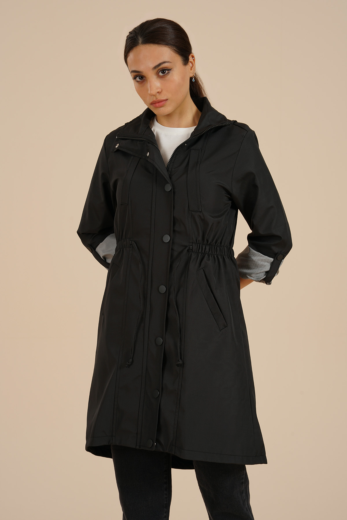 Markosin Women's Trench Coat - MAR209171 Black