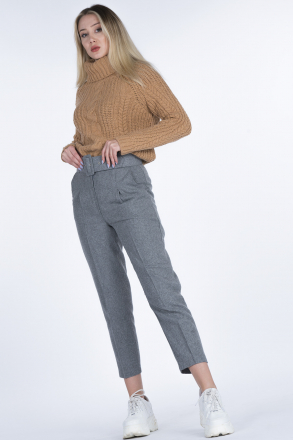 Belted Stamp Woman Pants 5575