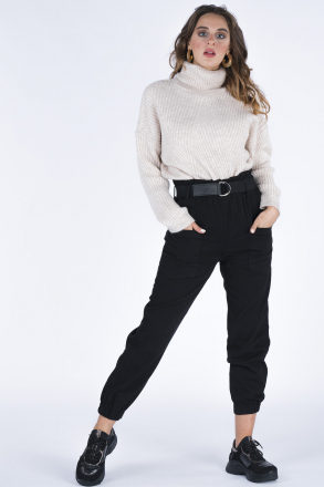 Markosin High Waist Women's Pants with Front Pocket