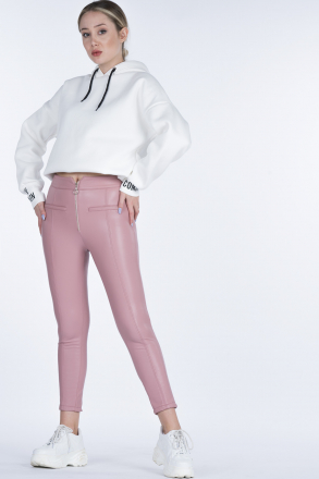 Markosin  Front Zippered Faux Leather Women Pants