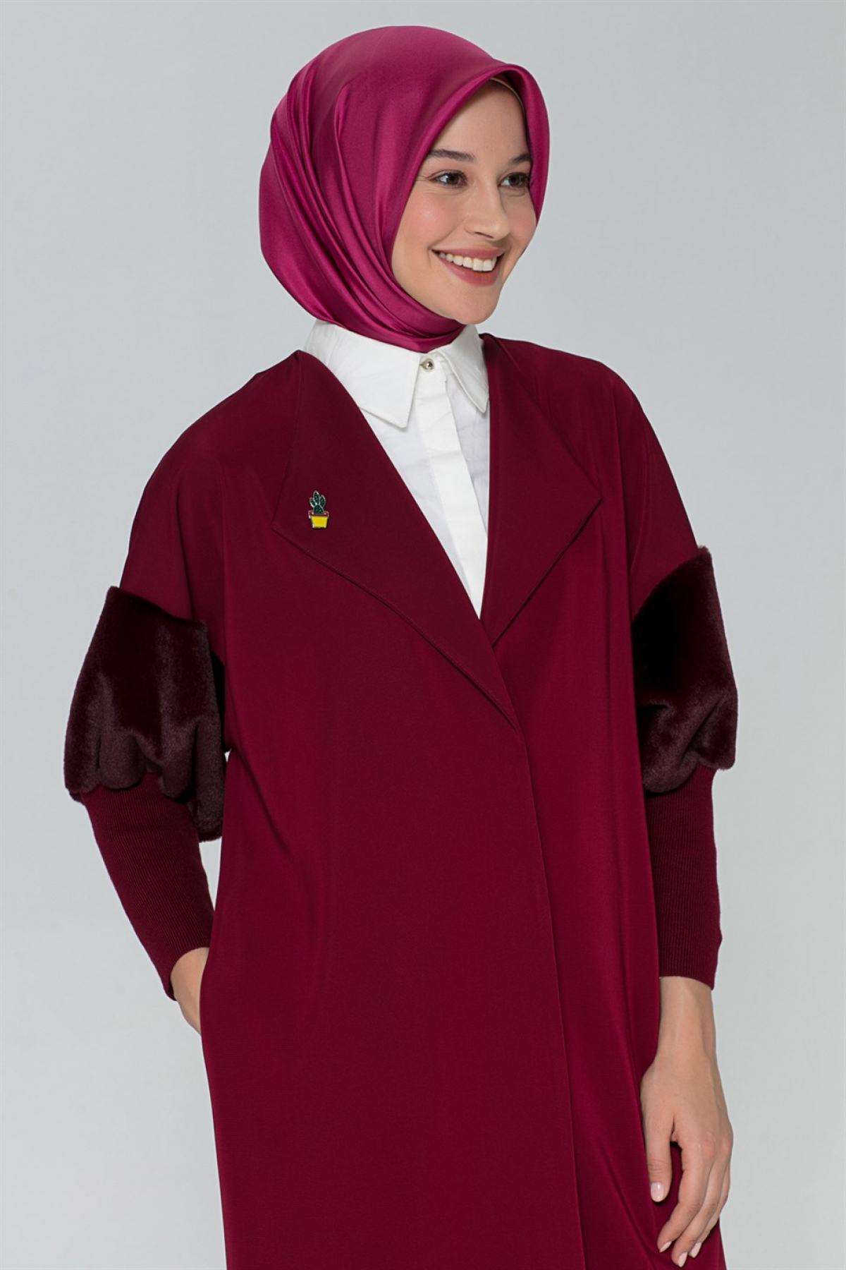 Armine Women Cardigan - 8k5827  Claret Red